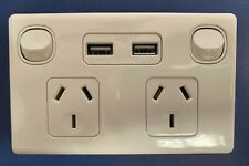 DOUBLE POWERPOINT GPO WITH USB OUTLETS 3.1AMP FAST CHARGE