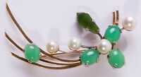 Stunning Vintage 18ct Yellow/White Gold, Pearl, Jade & Chrysoprase Agate Brooch