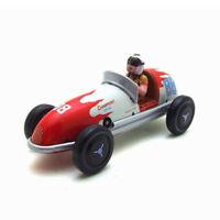 Vintage Wind Up Tin Toy Racing Race Car Racer Driver Clockwork Mechanical/14*6*6