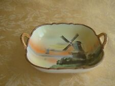 Antique Nippon Two Handles Bowl ~ Windmill Pattern 1911- 1921