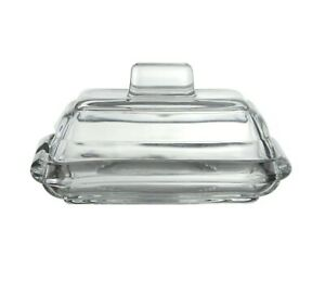 Transparent Glass Butter Dish With Lid Cover & Handle Storage Serving Tray Clear