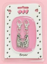 Boxer-2 Piece Clip On Charm For Pets/People-Collars Leashes Bags Keychain