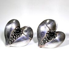 Very Large Sterling Silver Onyx Heart Clip On Earrings