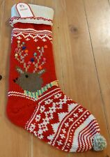 New Pottery Barn Kids Merry & Bright REINDEER Christmas Holiday Stocking