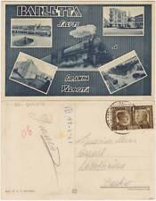BARLETTA SALUTI A GRANDE VELOCITA' - VEDUTINE E TRENO (BARI) 1941 AFFRANCATURA
