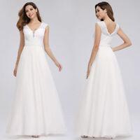 Ever-Pretty V-Neck A-Line Wedding Prom Dresses Long White Formal Evening Gowns