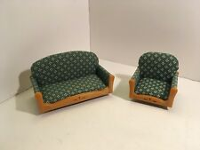 Vintage Dollhouse Miniatures Epoch Plastic Sofa & Chair #6