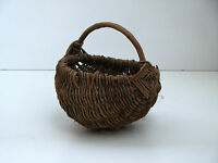 Antique Primitive Wooden Wood Harvest Willow Wicker Basket Skep Crate Early 20th