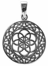 CELTIC FLOWER OF LIFE PENDANT 925 Sterling Silver 24mm Diameter 33mm Drop : BMTH
