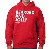 Bearded Jolly Christmas Hipster Santa Claus Mens Long Sleeve Hoodie Sweatshirt