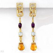 9.25ctw Designer Earrings G-H SI2 Diamond Citrine Amethyst Topaz 14K YG 12.50gr
