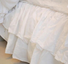 RACHEL ASHWELL COUTURE Cal King Bedskirt LILIPUT DOUBLE RUFFLE WHITE SHABBY CHIC