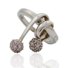 Anello collezione benetton in argento 925 rodiato con sfere zirconate rosa
