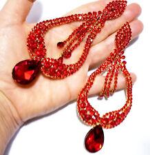 Huge Drag Queen Red Rhinestone Chandelier Earrings Bridal Prom Pageant 5.5 In
