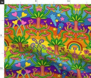 Stars Psychedelic Trees Hearts Hippie Groovy Spoonflower Fabric by the Yard