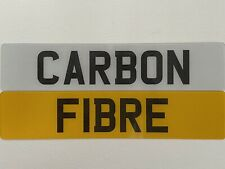 CARBON FIBRE Font Pair White Yellow Show Custom Number Plates NOT Road Legal