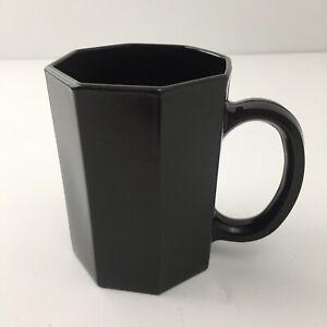 "ARCOROC FRANCE OCTIME #N7 BLACK AMETHYST GLASS 3-7/8""h  COFFEE CUP/MUG"