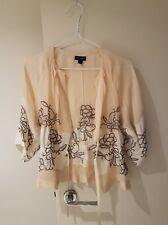 Witchery Silk Bolero Pale Yellow Ivory Kimono Sleeves Top Embroidered Sz Small
