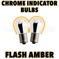 Straight Pin CHROME SILVER 382 BA15S 21W AMBER INDICATOR BULBS PAIR