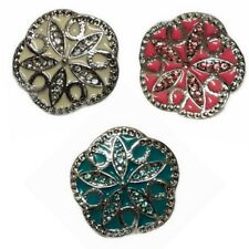3 x Noosa Ginger Style Snap Button Chunk Charms Blue/Pink/White Snowflakes  20mm