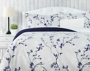 Chanasya Soft Reverse Floral Print Microfiber Zipper Duvet Cover & Pillow Cover