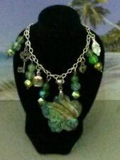 Fantastic Flower Shaped Abalone Pendant Necklace with Beads and Charms