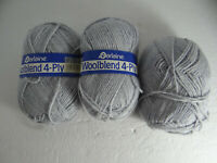 Darlaine Woolblend 4 Ply Yarn Lot of 3 Skeins Gray 3 1/2 oz.