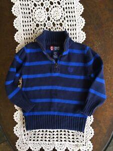 CHAPS Boys Navy Blue Stripped Sweater Size 4T Quarter Zip