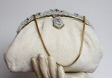 VINTAGE CHARLET BAG JAPAN PEARL BEADED FRAMED RETRO PURSE CHAIN EVENING CLUTCH