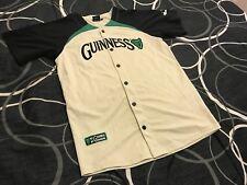 Rare Vtg Guinness Ireland Baseball Jersey Sz L Irish Off White Black Green