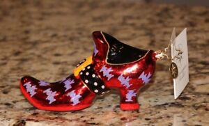 Christopher Radko Halloween FOOT FRIGHT Red Witches Shoe Ornament  2002 + Box