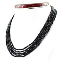 153.65 CTS EARTH MINED 5 STRAND RICH BLACK SPINEL ROUND FACETED BEADS NECKLACE