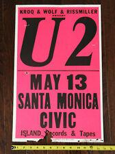 1981 U2 Santa Monica Ca Civic Center Usa broadside Concert Poster