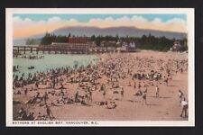 vintage Bathers at English Bay Vancouver B.C.Canada postcard