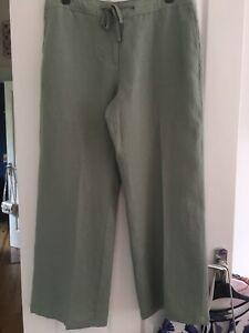 Laura Ashley Mint Green Linen Wide Leg Trousers Size 16 New Nwt