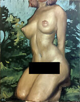 "Female Nude Original Oil Painting, 16""x20"" Signed"
