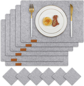 Famibay Felt Placemats and Coasters Set of 6 Grey Washable Table Mats for Dining