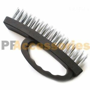 """6.5"""" inch Large Heavy Duty Stainless Steel Wire Brush Plastic Grip (Black)"""