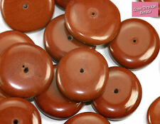 8x Natural Red Jasper Beads Rondelle Chunky Feature Unusual 18mm x 5mm