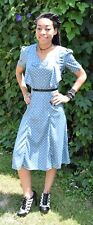 Dusty Baby Blue white Polka Dot Hell Bunny Vixen RETRO Vintage inspired Dress XS