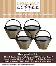 4 Washable Coffee Filters #4 Cone Black & Decker Braun Cuisinart Hamilton Beach