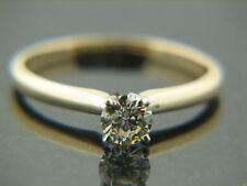 0.37ct Round Brilliant Cut Diamond Engagement Ring yellow solitaite Gold band