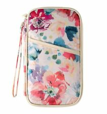 Organiseur de voyage , porte passeport, porte cartes (Fleurs / Fond blanc)