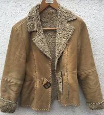 Women's Girls Faux Fur Cord Lipsy Beige Light Brown Jacket Coat Size 10 Warm