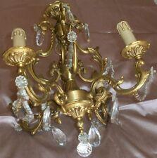 """Lustre bronze doré """" vieil or """" style Louis XV feuillagé & pampilles verre moulé"""