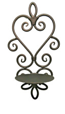 Iron Metal Copper Bronze Painted Heart Sconce Wall Mount Scroll Candle Holder