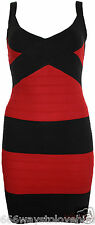 Red Knitted Stripe Cross Front Bandage Bodycon Dress M/L 10-12 Valentine New