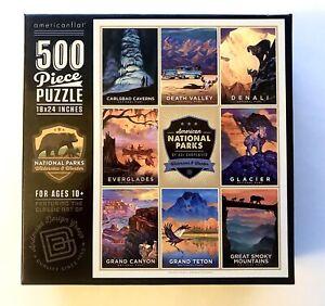 "New Puzzle 18x24"" 500 Piece Poster Art National Parks Graphic Vintage Colorful"