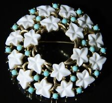 VTG CROWN TRIFARI Gold Tone Blue Cabochon White Lucite Leaf Flower Pin Brooch