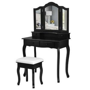 Vanity Makeup Dressing Table Set bathroom 4 Drawer & Mirror